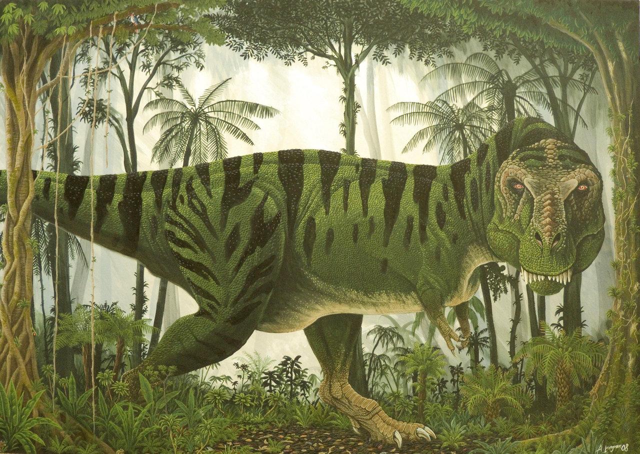 rainforest_tyrannosaur_by_alexandernevsky-d1drf8e